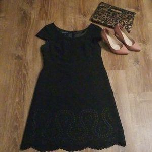 Black Cap Sleeve Eyelet Dress